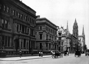 Fifth avenue mansions across from Central Park: first of the twin mansions was the home of William H. Vanderbilt (William K.'s father); the second of the twin mansions was the home Wm. H. built for his daughters; the third home is the marble chateau built for William K. and Alva Vanderbilt in 1883. (Library of Congress)