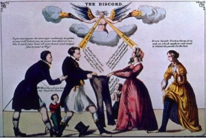 """The Discord, 1865 (Roland Marchand Collection): """"Fight courageous for sovereign authority, neighbor, or your wife'll do to you as mine has done to me - she'll pull your hair off your head and compel you to wear a wig!"""" Child: """"Oh, Mamma, please leave my Papa his Pants."""" Husband: """"Rather die! than let my wife have my pants. A man ought to always be the ruler."""" Wife: """"Sam'y help me! Woman is born to rule and not to obey those contemptible creatures called men!"""" Daughter: """"Oh, Pa, let go, be gallant or you'll tear 'em."""" Woman: """"Bravo, Sarah. Stick to them, it is only us which ought to rule and to whom the pants fit best."""""""