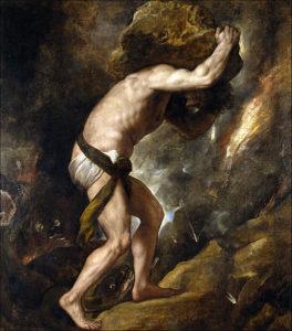 Titian, Sisyphus, c.1549, Prado Museum, Madrid, [Public Domain] via Wikimedia Commons